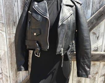 Vintage Black Leather Motorcycle Jacket Women S // Vintage Black Leather Biker Jacket Size S by LA Roxx