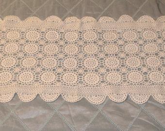 """Vintage 15"""" x 54"""" White Crocheted Table Runner"""