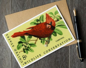 Cardinal, cardinal card, cardinal art, cardinal poster, cardinal bird, red cardinal, bird greeting card, bird birthday card, bird watcher