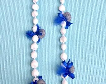 Special Aroma Hawaiian Lei / Organic dried lavender with kukui nuts/white・dark blue