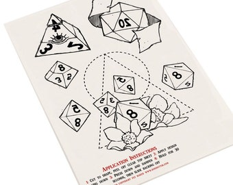 SALE D&D Dice Temporary Tattoos
