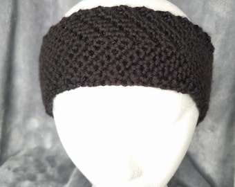 Black Chevron Earwarmer - Crochet