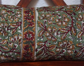 Golconda 1 khaki series: cover 30x50cm (12 x 20 inches) cushion, cotton, kalamkari, floral, ochre, red and green patterns.