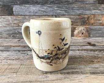 Vintage Prairie Scene Pottery Coffee Mug