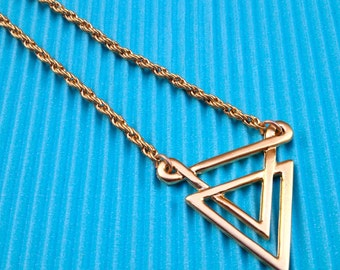 Long triangle necklace, long necklace, gold triangle pendant, triangle necklace, geometric necklace, geometric jewelry, layering necklace