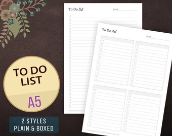 A5 To Do List Printable, Checklist Printable, Daily ToDo List, To Do List, Planner Pages, Inserts, Refills, Filofax, To Do List Notebook
