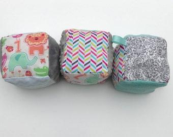 SALE!! Fabric Blocks- Set of 3-  Stacking Blocks- Soft- Baby Toys- Toys- Large Fabric Blocks- Baby Shower Gifts- Stackable Blocks- Taggie