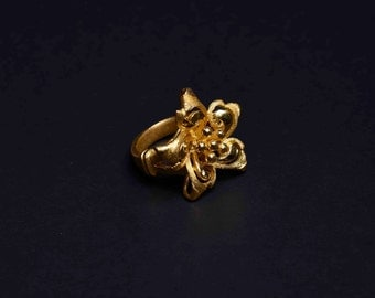 22K Yellow Gold Flower Ring - Lotus