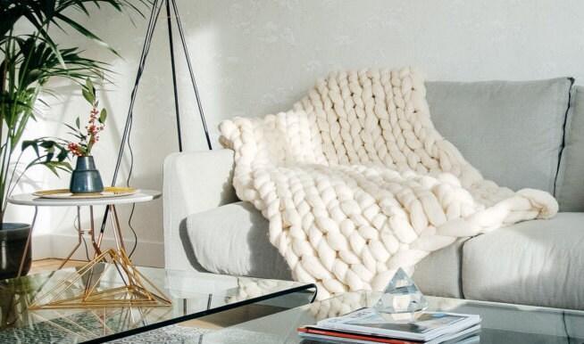 couverture en laine m rinos xxl couleur blanche naturelle. Black Bedroom Furniture Sets. Home Design Ideas
