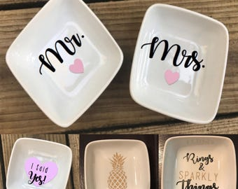 Ring Dishes | Mrs. ring dish | Mr. and Mrs. Ring dish | Pineapple Ring Dish | Engagement Gift | Rings and Sparkly Things Ring Dish
