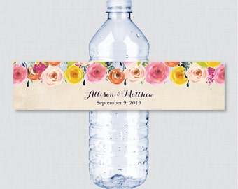 Printable OR Printed Wedding Water Bottle Labels - Floral, Custom Water Bottle Labels - Personalized Bottle Labels Colorful Flowers 0003-A