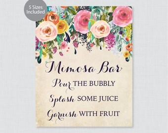 Printable Mimosa Bar Sign - Floral Mimosa Bar Sign - Shabby Chic Colorful Flower Wedding Bar Sign or Poster, 8x10, 16x20, 18x24 0003-A