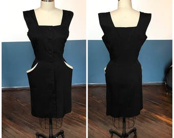 "1950's true vintage dangerous curves black & white summer burlesque hourglass wiggle pencil dress - Size L 30"" waist - oh hey pockets!"