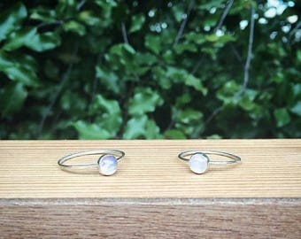Moonstone Ring / Sterling Silver Ring / Silver Moonstone Stacking Ring / Rainbow Moonstone / Rings for Women / Moonstone Stack Ring