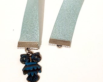 Blue Owl Charm Ribbon Bookmark