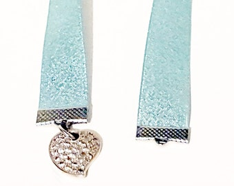 Blue Heart Charm Ribbon Bookmark