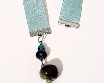 Blue Vintage Beaded Charm Ribbon Bookmark