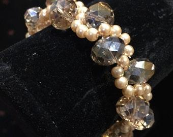 Bracelet and Earring Set Smokey Crystal