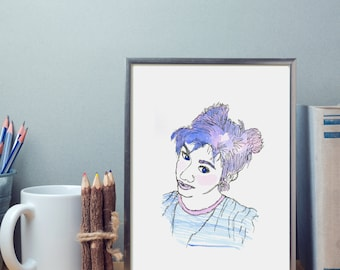 Print picture frame A4 Reproduction watercolor gift and Decoration girl hair blue Pastel Rose character girl