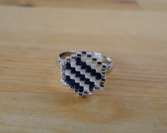 Ring beads Miyuki woven, blue, white, silver, Adjustable ring for wife, hexagonal geometric pattern