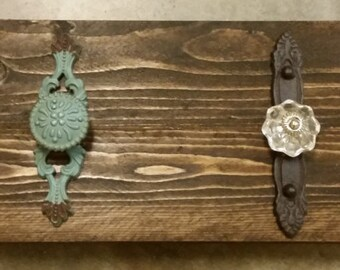 Decorative Doorknob holder with stained wood