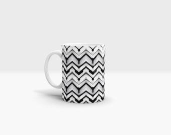 Black and White Chevron Mug. 11oz Ceramic Mug.