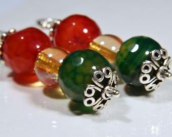 Agate Bead Sterling Silver Earrings, Red and Green Agate Earrings, Agate Dangle Earrings, Statement Earrings, Boho Agate Large Earrings