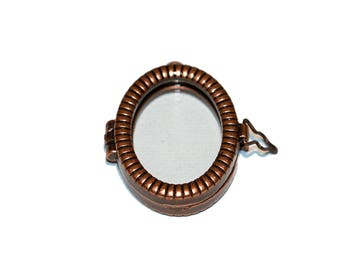Picture Frame Pendant Oval Copper Tone and Glass Picture Pendant Large Oval Hinged Picture Frame Charm Double Sided 1 inch x 1 1/4 inch