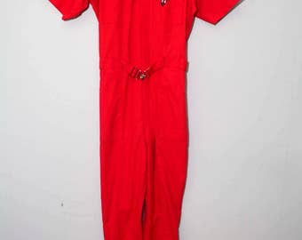 Vintage 1970's Lipstick Red Jumpsuit With Belt | Size Small - Medium