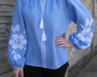 Blue blouse vyshyvanka of 100% linen Boho Style Ukrainian clothing boho blouse Ukrainian folk shirt Embroidered