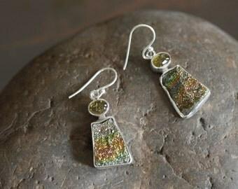 Spectropyrite druzy earrings, druzy earrings, Tourmaline earrings, gift for her, bridesmaid earrings, 925 silver earrings, rainbow druzy