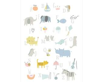 Postcard DIN A 6 Animal Alphabet