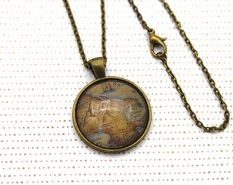 Peter Pan, Neverland Map Necklace or Keychain, Keyring.