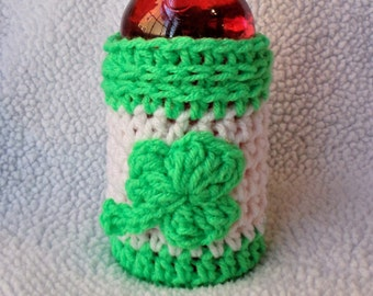 Crochet Drink Cozy, Saint Patrick's Day, Shamrock, Crochet Beer Cozy, Bottle Cover, Bottle Accessory, Drink Cozy, Beer Sleeve, Gifts For Him