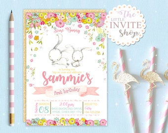 Girls Bunny Rabbit Invite | Birthday Party Invitation | Woodland Forest Flowers | Digital Download Customised Personalised | Printable