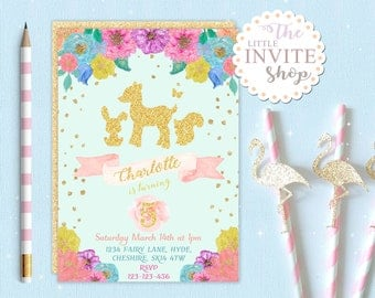 Girls Woodland Animals Invite | Birthday Party Invitation | Bambi Deer | Forest Flowers | Printable Digital Download Customised Personalised