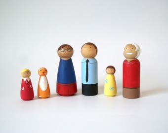 Peg doll family, of six, Peg doll, Peg dolls, Custom Peg Family, Family Peg Doll, Peg People, Wooden Dolls, Peg family, imaginary play, toys