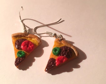 Salami pizza earrings fast food