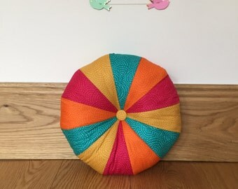 Speckled Rainbow Patchwork Pouffe Cushion