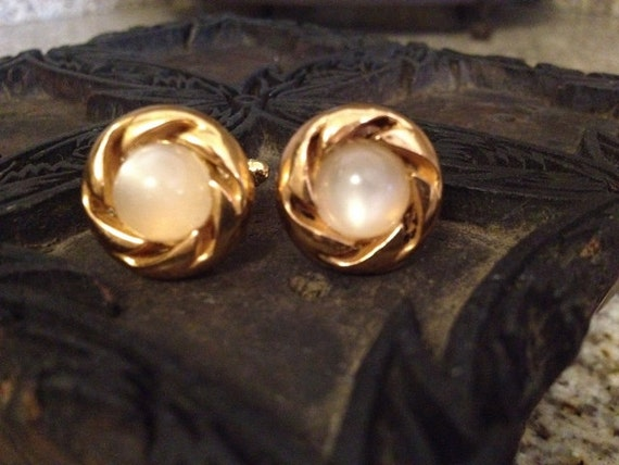 Custom Cufflinks Made from 1949 Gold & Stone Buttons
