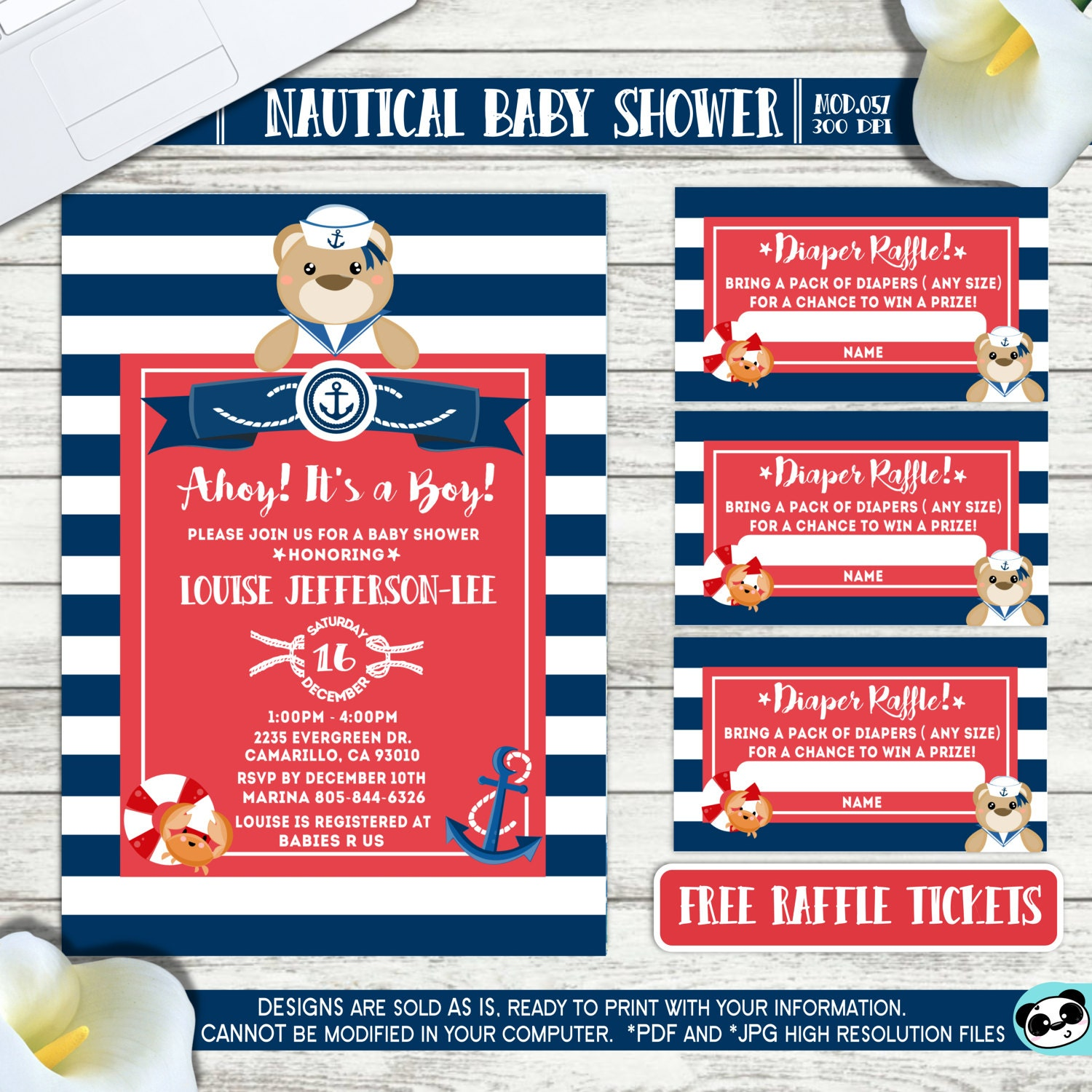 Contemporary Baby Shower Baseball Ticket Invitations Motif ...
