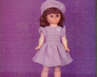 "Vintage 19"" Doll Dress and Tam Crochet Pattern"