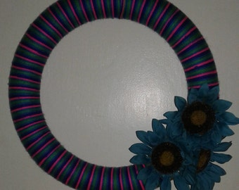 Yarn Sunflower wreath