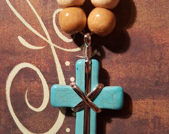 BLUE/SILVER CROSS Beaded Necklace