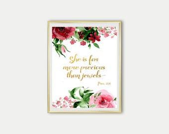 "Scripture Digital Print ""She is far more precious than jewels"" Proverbs 31:10 Art Print Floral watercolour Christian Art Print Scripture Art"