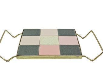 Vintage Trivet, Mosaic Trivet, Brass Trivet, Mid Century Modern Trivet, Hot Plate, Farmhouse, Cottage Chic, Vintage Tableware, Retro Kitchen