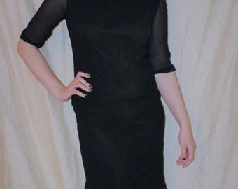 Vintage 50's Black LESLIE FAY Chiffon Wiggle Dress with Beaded Neckline XS Mini Dress