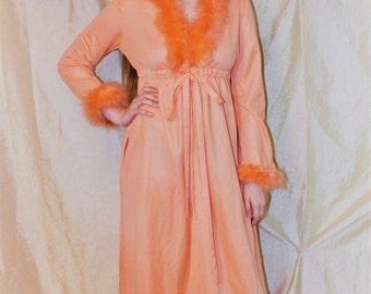 Vintage 60's DORIAN Robe for IMAGNIN Peach Maribou Boudoir Robe by Leo Narducci OS