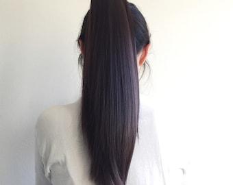 Dark Brown Claw-On Hair Extension