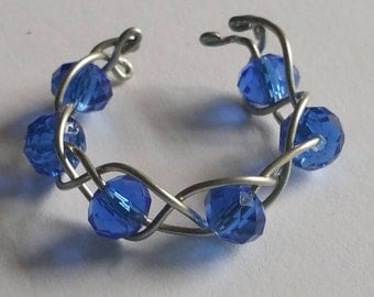 Blue Adjustable Ring/Blue Bead Ring